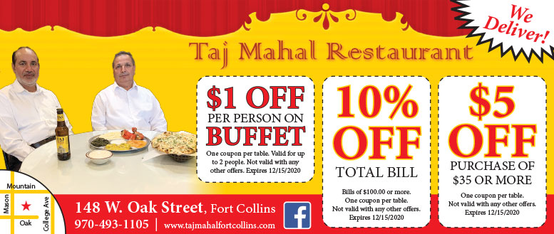 Taj Mahal Restaurant Coupons in Fort Collins - Up to $5 Off