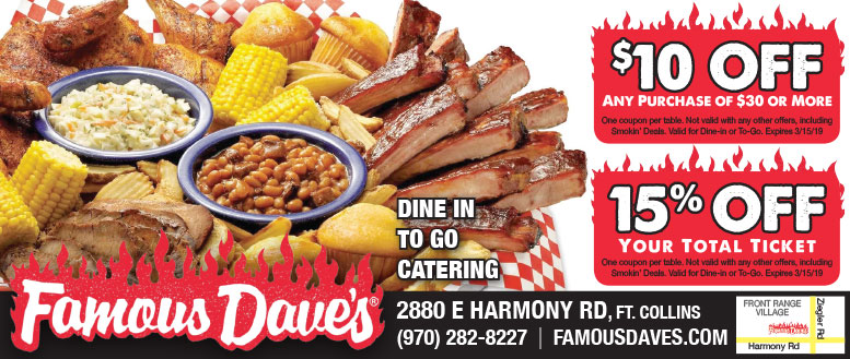 Famous Dave BBQ, Fort Collins Coupon Deals - $10 Off $30 or 15% Off Total Ticket