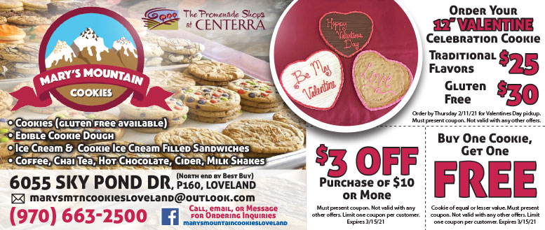 Mary's Mountain Cookies in Fort Collins Coupon Deals - Buy 4, Get 2 Free Cookies