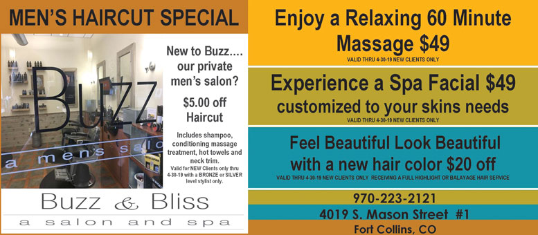 Buzz & Bliss Salon & Spa, Fort Collins Massage, Facial and Hair Color Coupon Deals