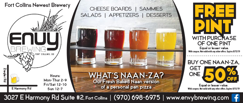 Envy Brewing, Fort Collins Coupon Deals - Free Pint of Beer or 50% Off Naan-za
