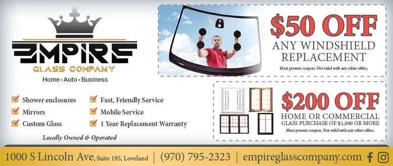 Empire Glass Company, Loveland, CO - Windshield, Home & Commercial Window Coupon Deals