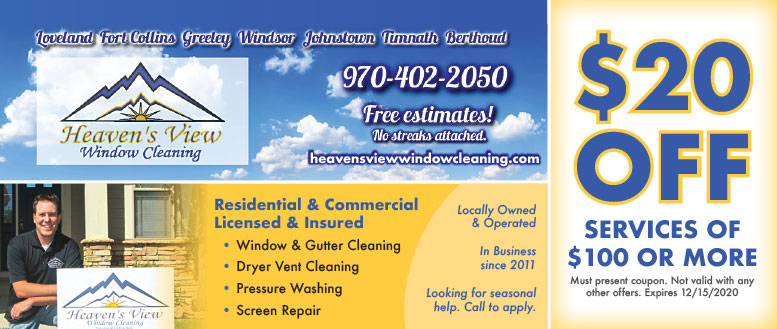 Heaven's View Window Cleaning, Loveland, CO - Cleaning, Washing, Repair Coupon Deals