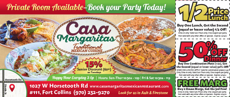 Casa Margaritas, Fort Collins - Lunch & Dinner Coupon Deals