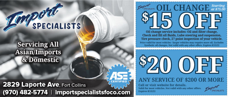 Import Specialists Auto Repair & Oil Change Service Coupon Deals