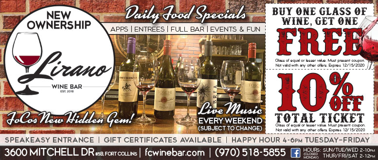 Lirano Wine Bar, Fort Collins - BOGO Glass of Wine Coupon Deal