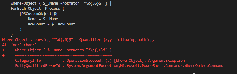 "PowerShell error ""Quantifier {x,y} following nothing"""