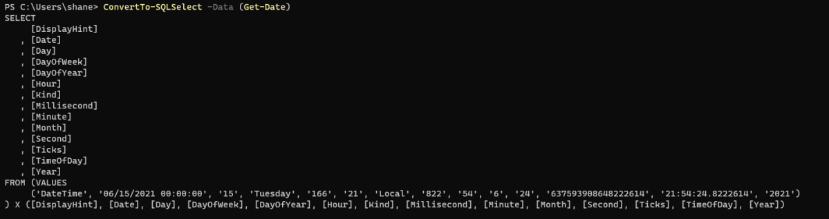 ConvertTo-SQLSelect