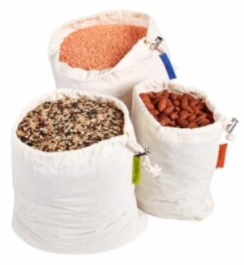 Reusable Bulk Bin Bags - For Bulk Food - Set of 6 - Multiple Sizes - Filled