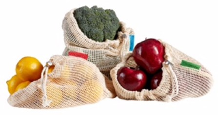 Reusable Produce Bags - Natural Cotton Mesh is Biodegradable - Set of 9 - Multiple Sizes - Filled