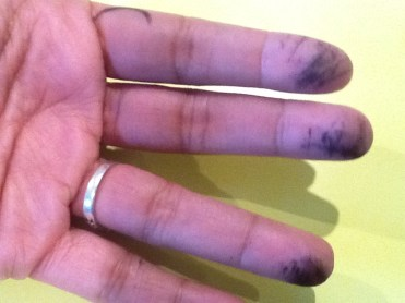 Smudgy fingers - proof of hard work!
