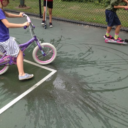 Drawing with water and wheels!