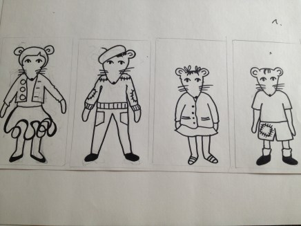 Paper mice dolls drawn out