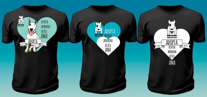boceto tres camisetas bull terrier adopta españa