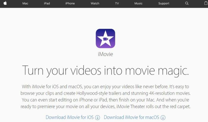 Ediror de vídeo iMovie
