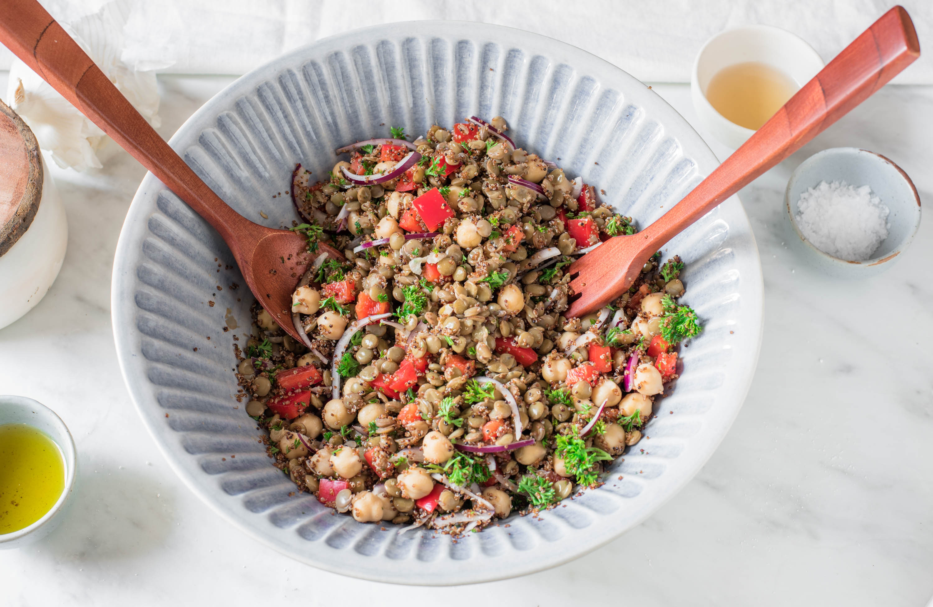 top down view of a colorful lentil chickpea salad