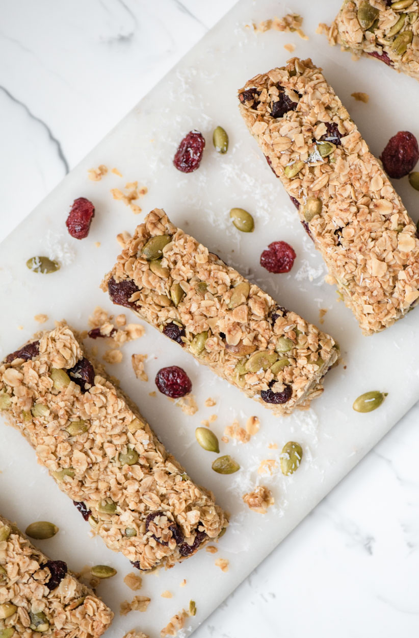 Cranberry Granola Bars with pumpkin seeds and coconut