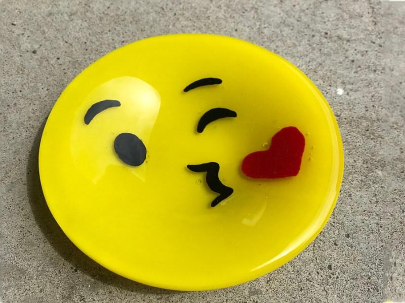 fused glass emoji plate