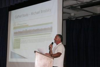 SFBDF Member Michael Brodski reading the petition