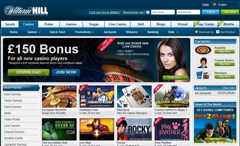 william hill casino club fast bank transfer