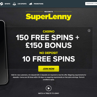 SuperLenny Casino - homepage