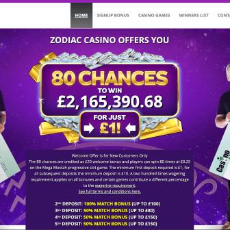 Zodiac Casino Homepage