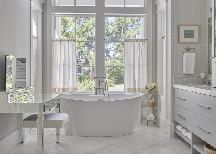 Master Bath Clean and Crisp Schumacher Wallpaper