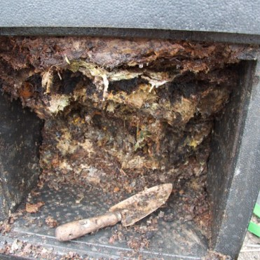 Not everything had composted, so this was placed in a regular compost bin to finish off