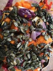 roasted squash salad with roasted pumpkin seeds