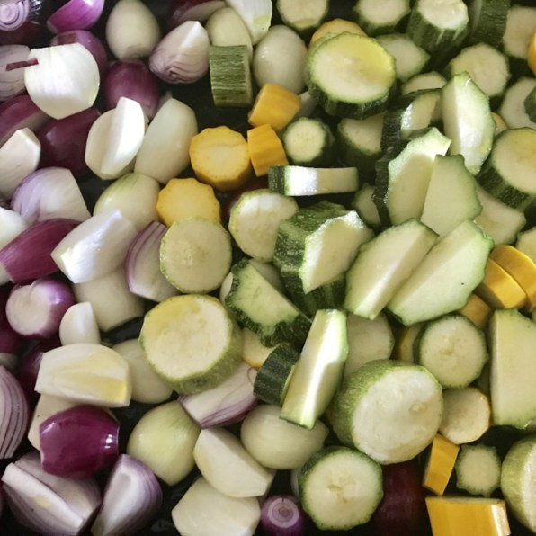 red onions, courgette