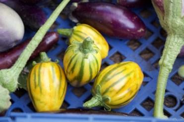 ripe yellow aubergines