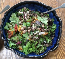 borlotti beans with roasted onions, dried tomatoes and salad