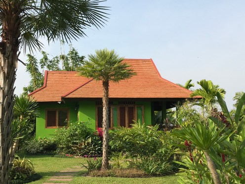 "One of the villas ""Garden Cottage"" - I love the green walls, perfect for this climate"