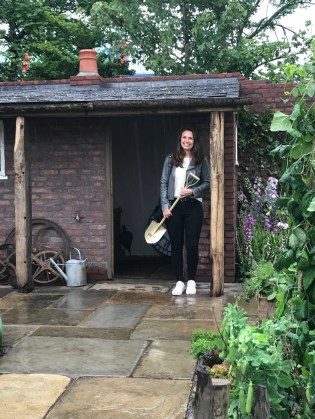 Alexandra Froggatt with her award - a spade from Niwaki