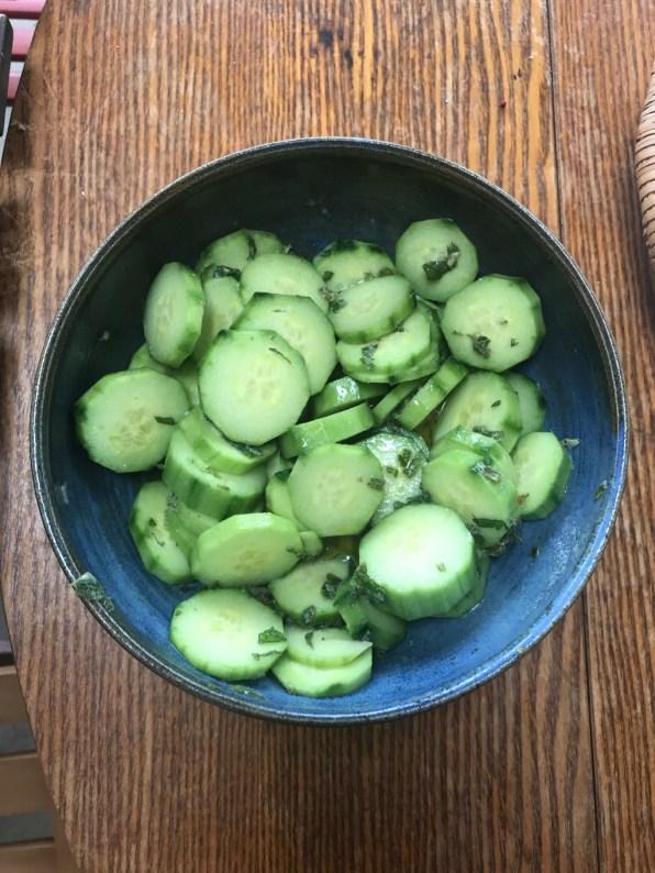 mint and lemon cucumbers