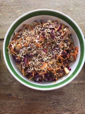 pear coleslaw with toasted sunflower seeds