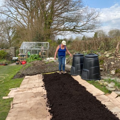 dancing on the bed to firm the compost