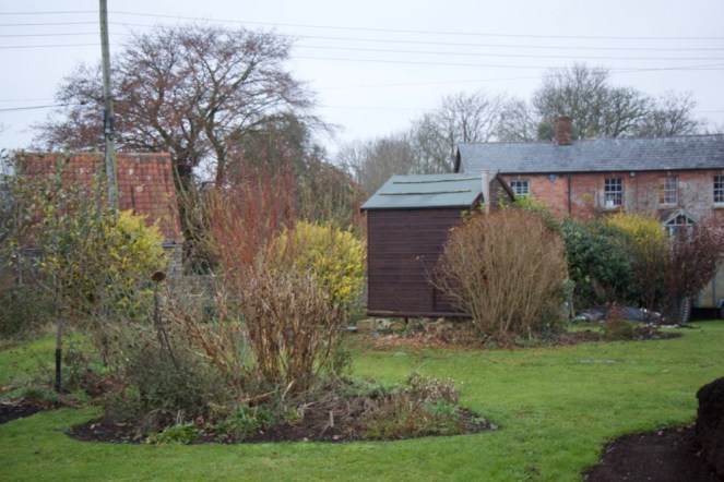 flowerbeds and view to the compost loo