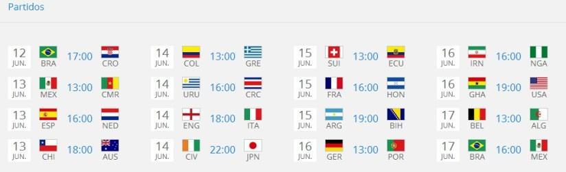 horario partidos brasil 2014