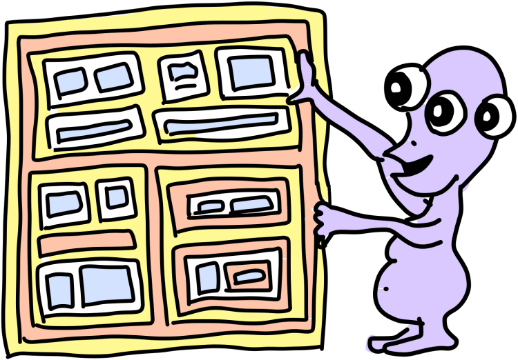 A purple three-eyed monster manipulating a display of panels all on top of each other