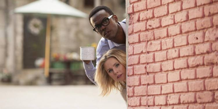 "THE GOOD PLACE -- ""Dance Dance Resolution"" Episode 203 -- Pictured: (l-r) William Jackson Harper as Chidi, Kristen Bell as Eleanor Shellstrop -- (Photo by: Colleen Hayes/NBC)"