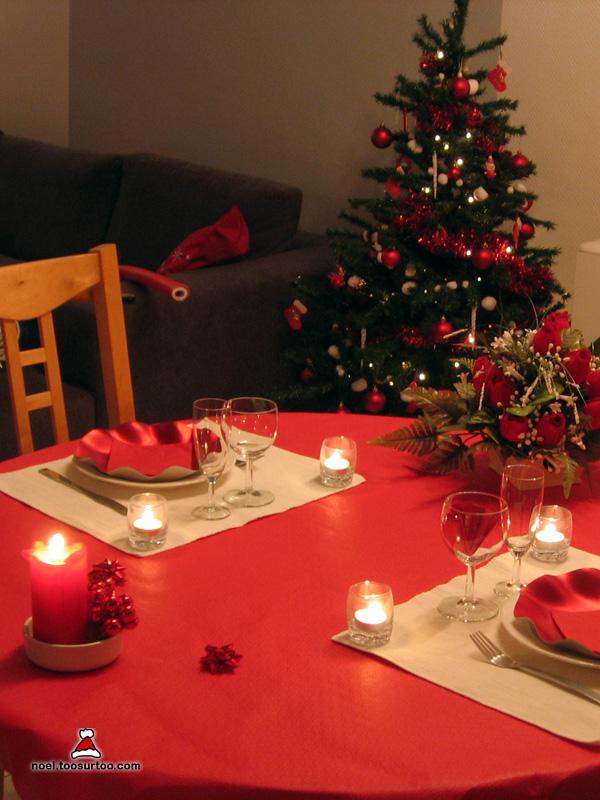 Dcoration de la table de Nol et du rveillon du nouvel an