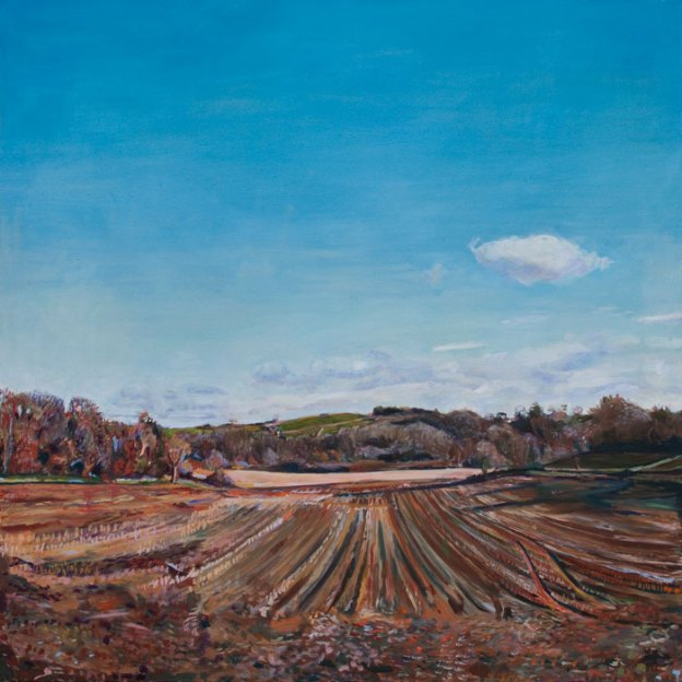Oil Painting of a Harvested Field in Dartington by Noel Hefele