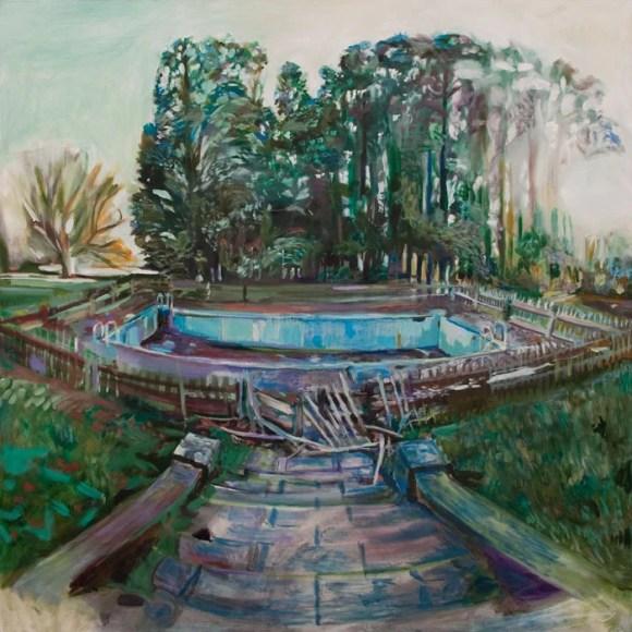 Oil painting of abandoned swimming pool at Aller Park by Noel Hefele