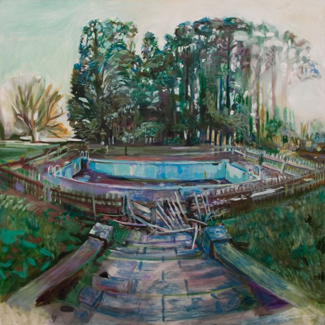 Oil painting of abandoned swimming pool at Aller Park by Noel Hefele