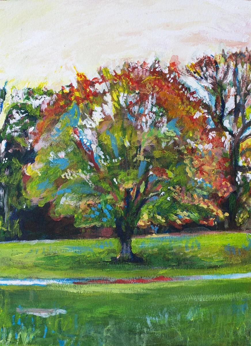Red Tree Painting by Noel Hefele