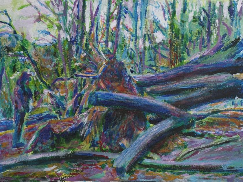 Prospect Park Fallen Tree painting by Noel Hefele