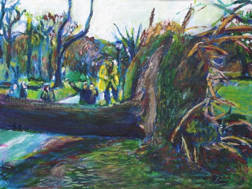 Fallen Tree Prospect Park Acrylic Painting by Noel Hefele