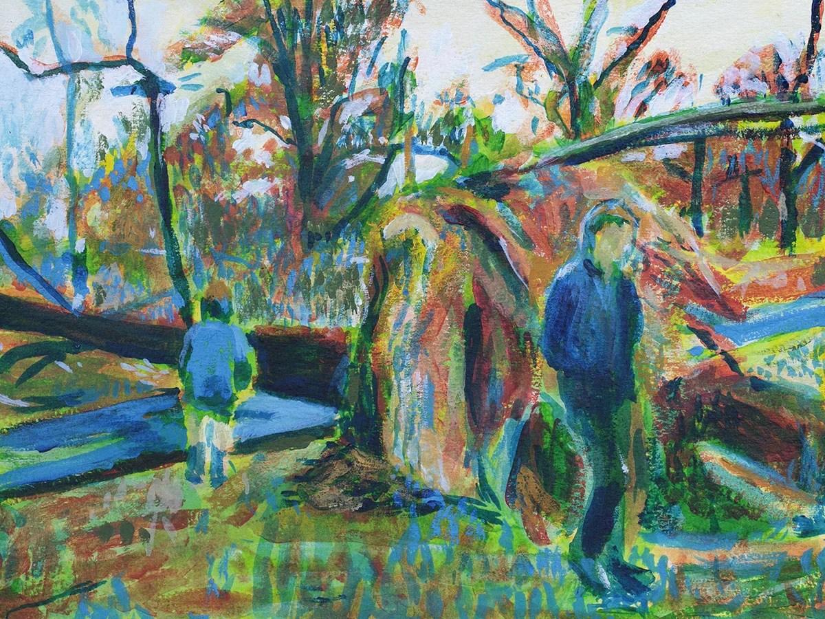 Fallen Tree, Prospect Park, painting by Noel Hefele