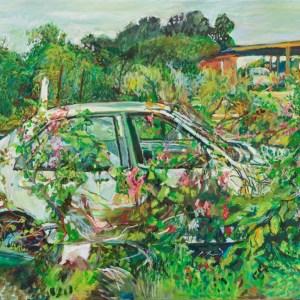 Painting of an overgrown car by Noel Hefele